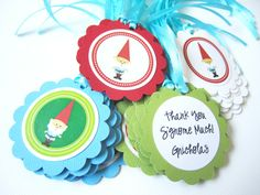 You'll get 12 favor tags of cute Gnome that I'll choose randomly. They are perfect for Gnome and Woodland themed party for a birthday or baby shower and embellishing your projects. Each tag is pre-strung so all you need to do is tie it to your favor.