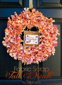 Fabric Scrap Fall Wreath from http://ThisSillyGirlsLife.com #HolidayIdeaExchange