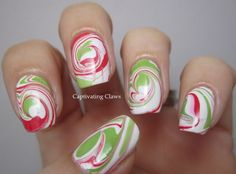 Swirled lime green with candy red on white base - this so works for an easy holiday season mani.