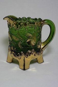 Antique EAPG Green & Gold Floradora/Bohemian Creamer U.S. Glass 1899