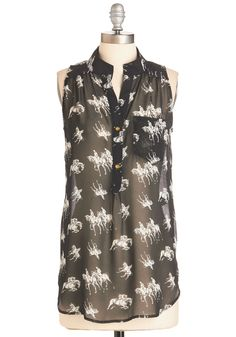 Supersonic Steed Top. Trot out the door in a flash after slipping into this fashionable equestrian top! #black #modcloth