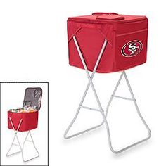 Soft Cooler with Cart San Francisco at Brookstone—Buy Now! Houston Texans Party, 49ers Fans, Soft Cooler, Oakland Raiders, Raiders Vs, San Diego Chargers, Patriotic Party, Picnic Time, Interior Garden