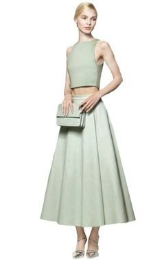 Alice + Olivia Daven Leather Center Pleat Long Skirt | #Chic Only #Glamour Always