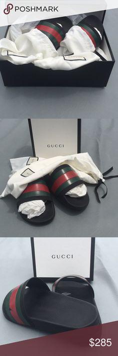 4c2304c3dd2c Gucci Slides Gucci Men s Pursuit Slides. These are gorgeous in Gucci  signature colors black