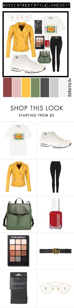 """""""Gucci street style June 2017"""" by p3achie ❤ liked on Polyvore featuring Gucci, NIKE, ONLY, Topshop, Skagen, Essie, Sonia Kashuk and Ahlem"""