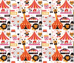 Lion circus show fabric by littlesmilemakers on Spoonflower - custom fabric