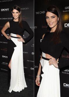 Ashley Greene: gorgeous black and white cut out dress
