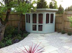 Corner Summer House, Summer House Garden, Home And Garden, Summer Houses, Garden Sheds Uk, Garden Log Cabins, Summer House Interiors, Corner Sheds, Cedar Roof