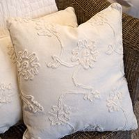 white ivory crewelwork pillow - love, love - - Laurie Anna's shop and blog