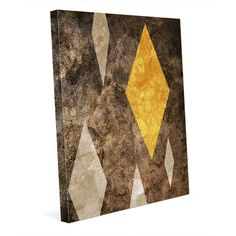 Click Wall Art 'Diamond in the Rough Yellow' Graphic Art on Wrapped Canvas Size: