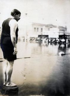 One sport made its first and only Olympic appearance at the 1904 games in St. Louis. That sport was the plunge for distance, a kind of long jump for divers. Competitors jumped from a platform into a lake and glided as far as they could underwater without using their arms or legs. William Dickey of the New York Athletic Club earned the unique title of Olympic champion in the plunge for distance with a winning distance of 62 feet, 6 inches.