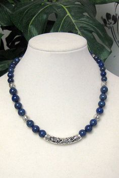 Lapis Silver Pewter and Bali Style Tube Bead Necklace  by irideae, $59.00