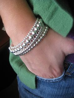 silver beaded bracelet - etsy
