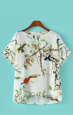 O-neck Short Sleeves Birds Printing Chiffon Blouse