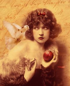 illustration , different perspective, highlighting the apple and bird
