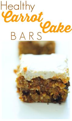 These healthy Carrot Cake Bars are incredible! You can't go wrong with this easy and healthy dessert recipe.