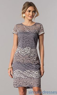 Shop short-sleeve wedding-guest party dresses at Simply Dresses. Knee-length semi-formal lace dresses in platinum silver under $100 with stripes.