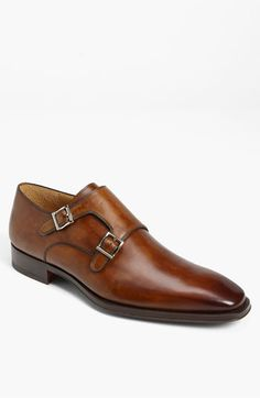A pair of brown Monk strap shoes like these are so versatile.  Throw them on with a grey suit or with a fitted pair of jeans and sport coat.  Magnanni 'Miro' Double Monk Strap Slip-On | Nordstrom #riccardomorini
