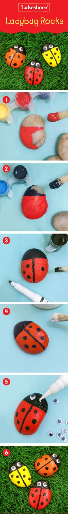 Kids create these little ladybug critters that make any space a happy place! (Also a great lady bug birthday party craft activity or decoration idea! Rock Crafts, Fun Crafts, Crafts For Kids, Arts And Crafts, Children Crafts, Ladybug Rocks, Ladybugs, Stone Painting, Rock Painting