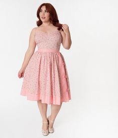 4c6a6d60 Janie Bryant For Unique Vintage Plus Size Pink Striped & Floral Rye  Swing Skirt Pink