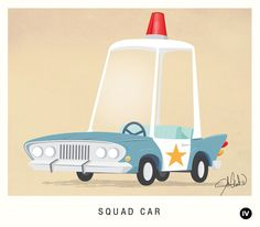 squad car illustration- old timey looking illustrations