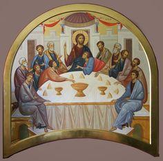 Icon of the Mystical Supper. Byzantine Icons, Byzantine Art, Catholic Art, Religious Art, Writing Icon, Church Icon, Holy Thursday, Roman Church, Paint Icon