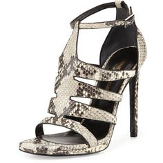 "Saint Laurent python-embossed leather sandal. 4 1/2"" covered stiletto heel; 1/5"" platform. Strappy cage-style vamp. Adjustable ankle strap. Open toe. Padded le…"