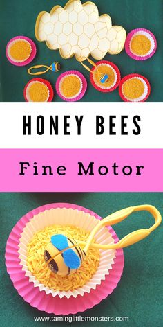 Help toddlers and preschoolers develop fine motor skills with this Honey Bee fine motor activity. This is a fantastic Spring themed play idea for early years classrooms. Kids will learn transferring, sensory play and a bit of science. #spring #finemotor #toddlers #preschool Insect Activities, Cutting Activities, Fine Motor Activities For Kids, Early Learning Activities, Motor Skills Activities, Fine Motor Skills, Toddler Activities, Insect Crafts, Bee Crafts