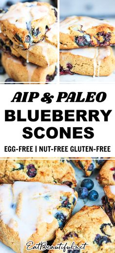 AIP Blueberry Scones taste like traditional British cream scones!, studded with fresh blueberries, but this classic treat is grain-free, Paleo and egg-free. No dairy, no nuts. Breakfast, snack, afternoon tea or dessert! | Eat Beautiful Recipes | aip | autoimmune protocol | aip scone recipe | aip blueberry scones | paleo blueberry scones | paleo egg free | paleo nut free | tiger nut scone recipe | tiger nut recipes | gluten free blueberry scones || #aip #paleo #blueberry #scones #glutenfree Nut Recipes, Gluten Free Recipes, Whole Food Recipes, Dessert Recipes, Paleo Breakfast, Breakfast Recipes, Gluten Free Blueberry, Cream Scones, Blueberry Scones