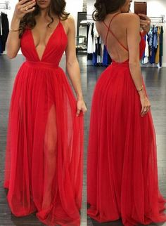 simple but sexy red long prom dress, 2017 red long prom dress with slit, formal evening dress