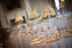 grand gold and white centerpieces
