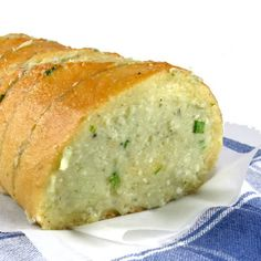 yummy blue cheese bread:  1/2 cup butter, softened  4 ounces crumbled blue cheese  2 tablespoons grated Parmesan cheese  1 tablespoon minced chives  1 teaspoon garlic powder  1 loaf (1 pound) unsliced French bread