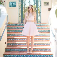 Blush two piece dress Blush crop with high waist flare skirt. Zipper closures. Dresses