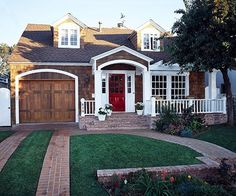 Cape Cod Exterior: Exterior Color Scheme - Dark stained cedar shake shingles, white trim, red door, dark brown roof