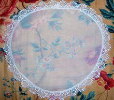 Mennonite White Flowered Veil Prayer Covering Cap Headcovering Handmade Modest