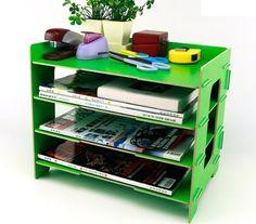 Menu Life Desk File Letter Trays DIY File Desk File Storage Cabinet Box Magazine Rack (Green)