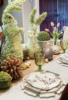 ideen osterdeko basteln tischdeko tulpen osterhase aus pflanzen teller