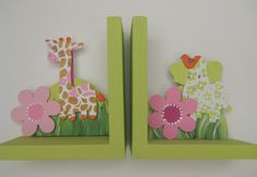 Hand painted wooden bookends with the jungle jill giraffe and elephant. $56.00, via Etsy.