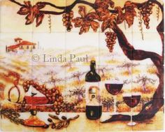 vineyard mural on marble tile