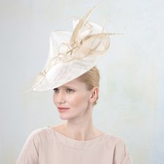 Jane Taylor Wisteria- Ripple Brim with Feather & Twirl - Millinery - Couture Collections