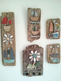 Some of my driftwood creations by Philippa Komercharo. Seashell Art, Seashell Crafts, Beach Crafts, Driftwood Wall Art, Driftwood Projects, Sea Glass Crafts, Sea Glass Art, Rock Crafts, Arts And Crafts