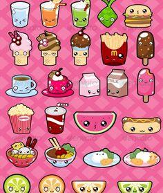 Group of cute food kawaii and Food Kawaii, Griffonnages Kawaii, Kawaii Stuff, Cute Food Drawings, Cute Kawaii Drawings, Art Mignon, Kawaii Doodles, Kawaii Stickers, Doodle Art