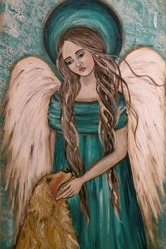 Folk Art Angel Print of Original Painting Give Us This by lore12