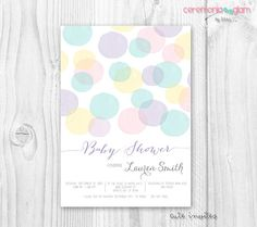 Watercolor dots baby shower invitation pastel by ceremoniaGlam