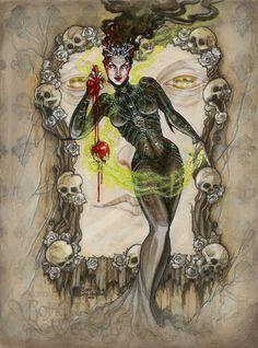 'Poisoned Apple' (Snow White) by Soni Alcorn-Hender Snow White Art, Disney Sleeve Tattoos, Witch Queen, Apple Painting, Witch Tattoo, Poison Apples, Witch Art, Fairytale Art, Disney Art