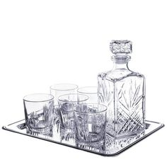 Selecta 7 Piece Whiskey Set (6 Dof Glasses, 1 Decanter) With Tray (8 Pieces Total), 2015 Amazon Top Rated Decanters #Kitchen