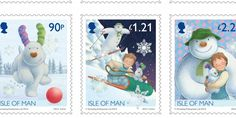Isle of Man The Snowman and The Snowdog stamps flying high