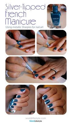 Holiday Nail Art -- DIY Silver-Tipped French Manicure with a Sharpie | WorldLifestyle.com