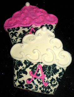 12 Damask Hot pink  Decorated Sugar Cookies Baby Shower Birthday favor Edible image cupcake Fluer de Lis