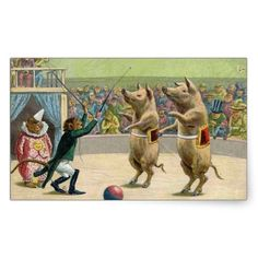 A wonderful image of a monkey circus ringmaster and dancing pigs from a vintage Victorian post card. What a beautiful item to send to friends and loved ones! Our images are print-quality and photographed at high resolution. This assures that your items will print with the highest quality possible. Reproduction Copyright © Vintagerie Ephemera Ye Olde Curio Shoppe.